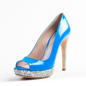 Miu Miu by Prada Blue Sparkle High Heel Shoes